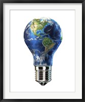 Light bulb with planet Earth inside glass, Americas view Fine Art Print