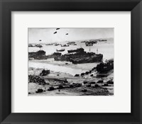 Fleets of US transport and landing craft disgorge reinforcements and supplies for the US troops Fine Art Print