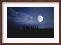 Composite of the Moon over Stonehenge, Wiltshire, England Fine Art Print