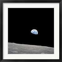 Earth Rising Above the Lunar Horizon Fine Art Print