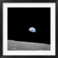 Earth Rising Above the Lunar Horizon Fine Art Print
