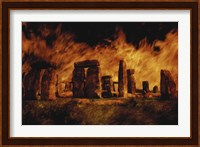 Composite Image of Stonehenge and Fire Fine Art Print