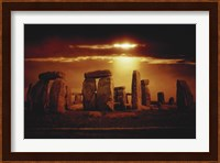 Composite of a Sunset over Stonehenge, Wiltshire, England Fine Art Print