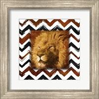 Lion with Chevron Border Fine Art Print