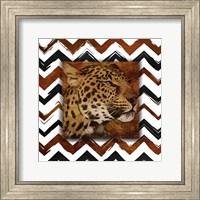 Cheetah with Chevron Border Fine Art Print