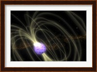 An Artist Conception of the SGR 1806-20 Magnetar Including Magnetic Field Lines Fine Art Print