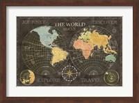 Old World Journey Map Black Fine Art Print