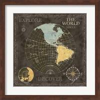 Old World Journey Map Black I Fine Art Print