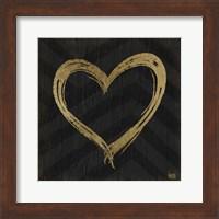 Chevron Sentiments Gold Heart Trio II Fine Art Print