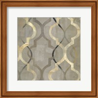 Abstract Waves Black/Gold Tiles III Fine Art Print