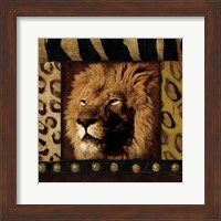 Lion with Wild Border Fine Art Print