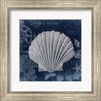 Seaside Postcard Navy I Fine Art Print