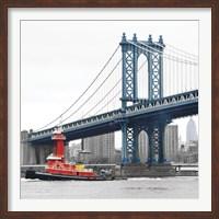 Manhattan Bridge with Tug Boat Fine Art Print