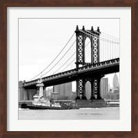 Manhattan Bridge with Tug Boat (b/w) Fine Art Print
