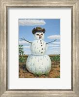 Snowman In Texas Fine Art Print