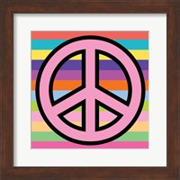 Peace - Pink on Stripes Fine Art Print