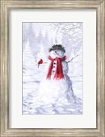 Snowman With Cardinal Fine Art Print