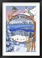 Lake Tahoe Skiiers Ad Fine Art Print