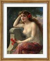 Girl With A Poppy Fine Art Print