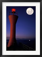 Spain, Teneriffe, Santa Cruz, Lighthouse, full moon Fine Art Print