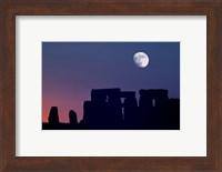 England, Salisbury Plain, Stonehenge Moon Fine Art Print