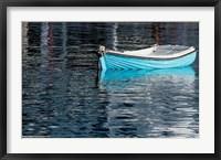 Greece, Cyclades, Mykonos, Hora Blue Fishing Boat with Reflection Fine Art Print