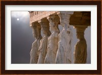 Greek Columns and Greek Carvings of Women, Temple of Zeus, Athens, Greece Fine Art Print