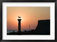Greece, Dodecanese, Stag Columns, Mandraki Harbor Fine Art Print