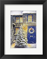 Blue Door and White Christmas Fine Art Print