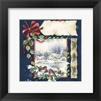 Winter Village and Bird Holiday Fine Art Print