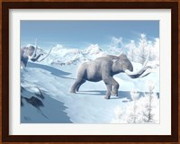 Mammoths Walking Slowly on the Snowy Mountain Against the Wind Fine Art Print