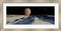 Jupiter's large moon, Europa, is covered by a thick Crust of ice Fine Art Print
