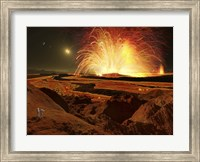Future astronauts observe an eruption on Io, Jupiter's super-volcanic Moon Fine Art Print