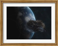 Asteroid in Front of the Earth I Fine Art Print