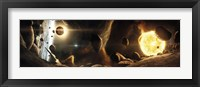 Asteroid field next to an Earth-like Planet in a Dual-star System Fine Art Print