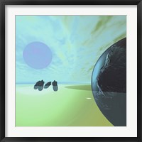 Rocky Asteroids Caught in the Ring System Surrounding a Planet Fine Art Print