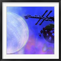 A Spaceship Passes a Moon and Orbiting Asteroids Fine Art Print