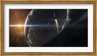 Space Shuttle flying over an Asteroid that is passing close to Earth Fine Art Print