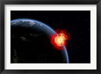 Explosion on Earth's surface from a colliding Asteroid Impact Fine Art Print