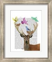 Deer and Birds Nests Pastel Shades Fine Art Print