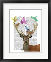 Deer and Birds Nests Pastel Shades Fine Art Print