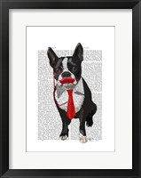 Boston Terrier With Red Tie and Moustache Fine Art Print
