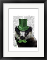 Badger with Green Top Hat and Moustache Fine Art Print