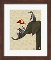 Elephant and Penguins Fine Art Print