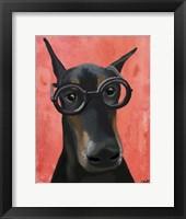 Doberman With Glasses Fine Art Print