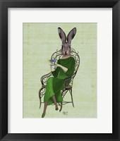 Lady Bella Rabbit Taking Tea Fine Art Print