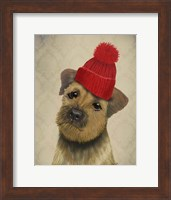 Border Terrier with Red Bobble Hat Fine Art Print