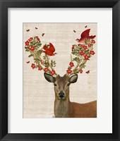 Deer and Love Birds Fine Art Print