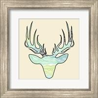 Deer Teal Green Fine Art Print