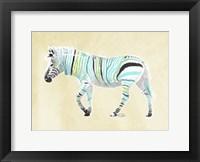 Zebra Teal Greens Fine Art Print